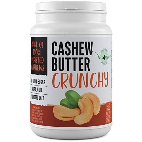 Cashewbutter Crunchy - 1kg natürliche Cashew Butter Ohne Zusätze - Proteinquelle - Cashewmus ohne Zusätze von Zucker, Salz, Öl oder Palmfett - Vegan