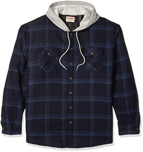 Wrangler Authentics mens Long Sleeve Quilted Lined Flannel Jacket With Hood Button Down Shirt, Total Eclipse With Heather, Large US