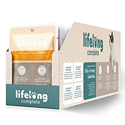 Amazon Brand - Lifelong Complete pet food for adult cats - Fish in Gravy Selection, 2.4 kg (24 pouches x 100g)