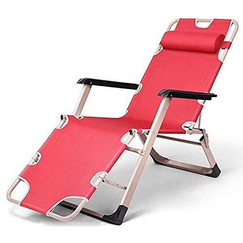 Tedyy Tumbona de Sol Plegable, sillas de jardín Reclinable Silla Plegable de salón para Exteriores Silla al Aire Libre Silla Cero Gravedad para al Aire Libre, Camping, Patio, Césped (Color: Rojo)