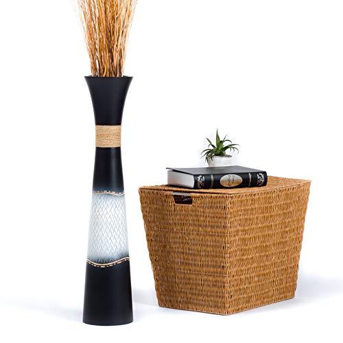 Leewadee Jarrón de Suelo Grande Alto, jarrón Hecho a Mano de Madera de Mango, contenedor de pie para Las Ramas Decorativas, 75 cm, Blanco Negro