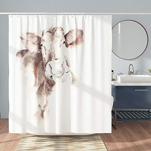 DESIHOM Kuh Duschvorhang 180x180cm mit 12 Haken Weiß Tier Duschvorhang Western Polyester Duschvorhang Wasserdicht Landhausduschvorhang