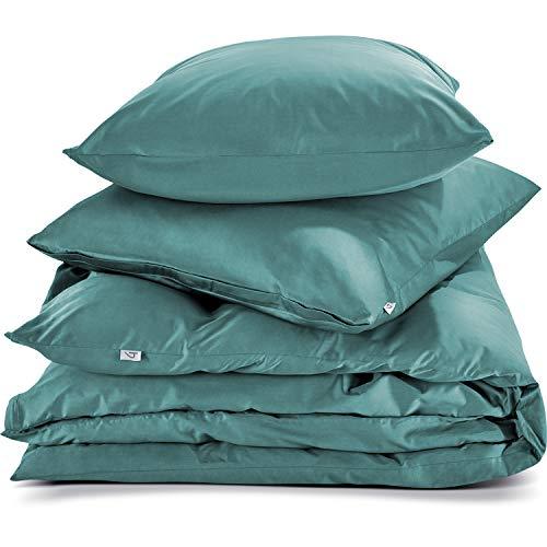 herzbach home Premium Mako-Satin Bettwäsche Set aus 100% Baumwolle (200 x 200 cm + 2X 80 x 80 cm, Petrol Grün)