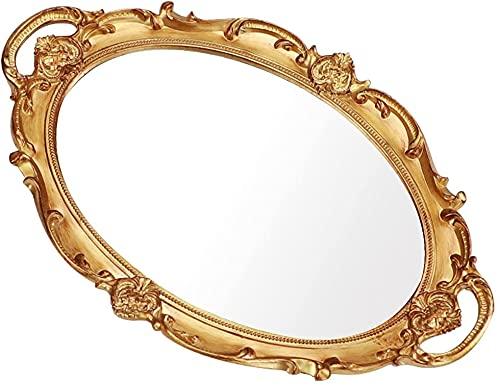 Moamun - Bandeja de espejo decorativa, bandeja ovalada vintage para perfumes, maquillaje, joyas, cosméticos, bandeja de servicio para dressing, dormitorio, salón, dorado