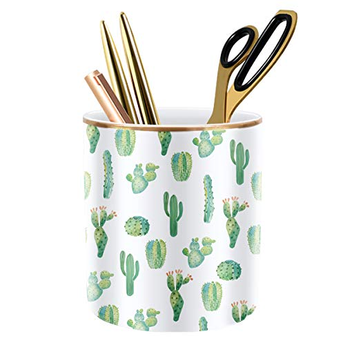 WAVEYU Pen Pencil Holder, Multi-Purpose Holder for Desk Pencil Cup for Girls Boys Kids Durable Ceramic Desk Organizer Makeup Brush Holder Ideal Gift for Office, Classroom, Home, Cactus