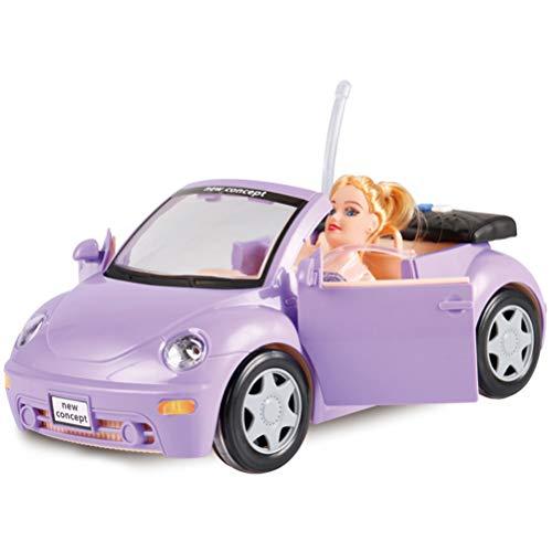 COLLITE speelgoedauto voor kinderen 1:14 simulatie traagheid prinses auto cabriolet sportwagen mini auto meisjes speelhuisje speelgoedpop accessoires lila