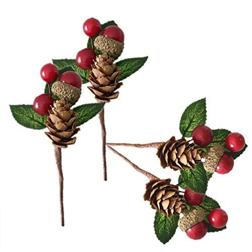 BESPORTBLE 6 stücke beeren tannenzapfen Weihnachten gefälschte Pflanze Rattan Simulation Pflanzen für die herstellung von blumenschmuck Kranz Korb