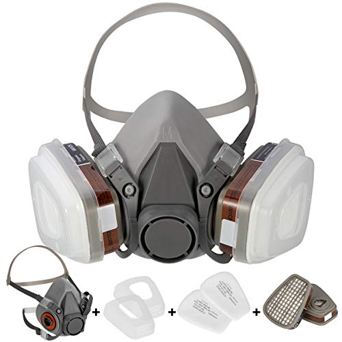 HAOX Large Half Facepiece Reusable Respirator 6200, Professional Organic Steam Respirator Widely Used in Organic Gas, Paint Spray, Chemical, Woodworking