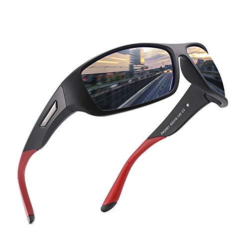 PUKCLAR Gafas de Sol Hombre Polarizadas, Deportivas, para Ciclismo, para Mujer, Protecci¨®n UV400, Cat 3 CE C3 Negro / Azul, Efecto Espejo, Cat 3. L