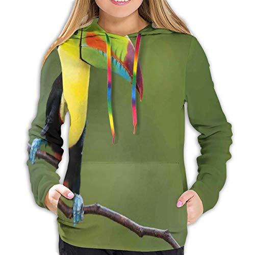 Women's Hoodies Tops,Keel Billed Toucan Colorful On Branch Tree Rainforest Park Tropical Bird America,Lady Fashion Casual Sweatshirt,M