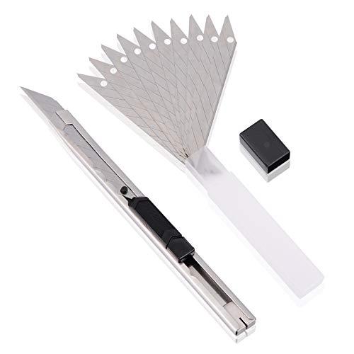 Ehdis Light Duty 9mm Snap Off 30 Grad Klingen Dünn Edelstahl Mantel abschließbar Box Cutters Graphic Messer mit Blade Snapper Hinzugefügt 10 Blades, 1 Set