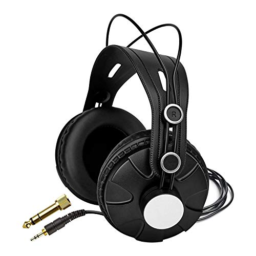 Knox Gear Closed-Back Studio Headphones TX-100 - Recording, Music & Gaming Headphones with Powerful 50mm Driver and Deep Bass Sound - Adjustable Over Ear 10 ft Wired Head Phones with Jack and Adapter