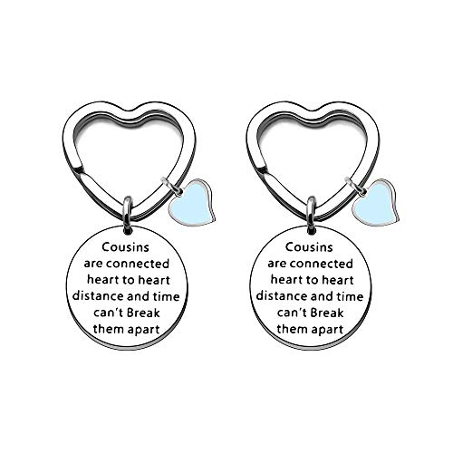 Angelra Cousin Gifts Keychain Keyring for Women Engraved Pendant Family...