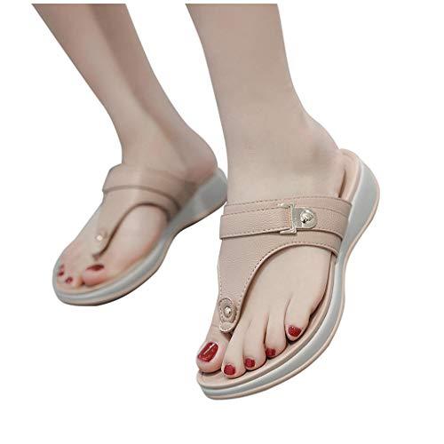 BIBOKAOKE Vacation Beach Seaside - Chanclas de verano para mujer, con plantilla suave, zapatos planos, zapatos para el tiempo libre, zapatillas anchas y cómodas para el exterior