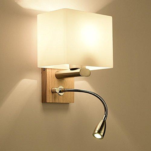 BDS Applique Murale avec Interrupteur Applique Murale Verre Ombre Moderne Minimaliste Chambre Lampe de Chevet Lecture Lampe LED E27 (taille : 17 * 22cm)