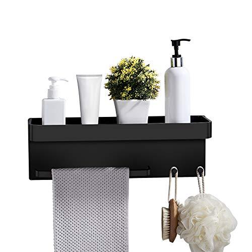 Hiraliy Regał prysznicowy, czarny, koszyk pod prysznic, bez wiercenia, z hakami na ręczniki, wykonany z aluminium z otworami odpływowymi na akcesoria prysznicowe, nierdzewny, wodoszczelny, w kolorze matowym czarnym (czarny)