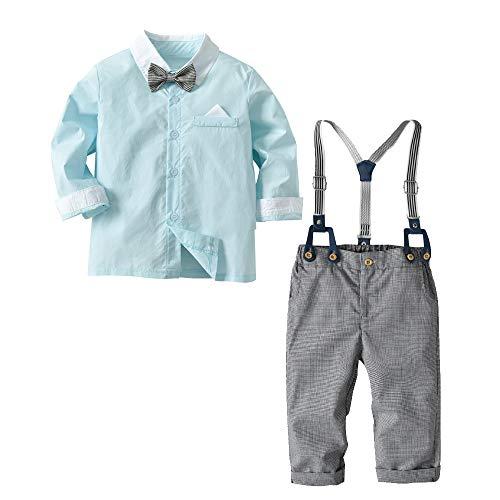 [Bekleidungsset Baby Junge] Hemd mit Fliege + Hose mit Träger Baumwolle Kleinkinder Set Gentleman Anzug Taufe Mintgrün