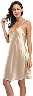 CostumeDeals Women's Satin Lingerie Nightdress Full Slip Dress Sleepwear Chemise Nightgown Sexy Negligee