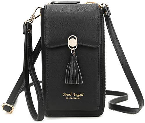 RFID Blocking Wallet Women's Small Crossbody Handbag Cell Phone Bag Credit Card Purse with Tassel Black