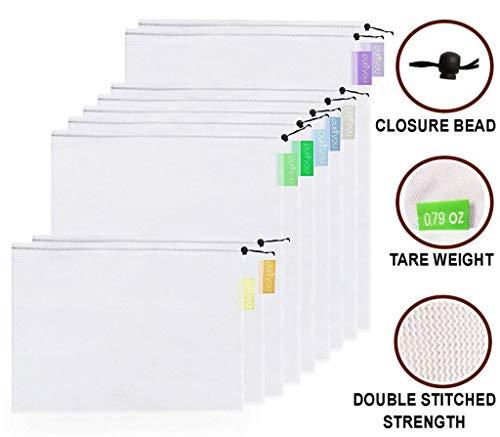 purifyou Wiederverwendbare Premium-Mesh- / Produkttaschen, 9er Set Überragende doppelte Steifigkeit mit Eigengewicht auf den Tags | Leicht, durchsichtig, groß, mittel und klein