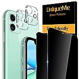 [2+2 Pezzi] UniqueMe Privacy Vetro Temperato e Pellicola Fotocamera compatibile con iPhone...