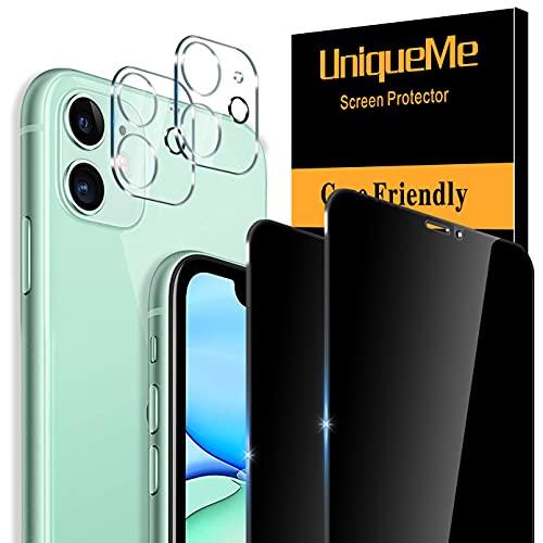 UniqueMe [2+2 Stück] Sichtschutz Kompatibel mit iPhone 11 (6.1 Zoll) 2 Stück Full Screen Panzerglas Sichtschutz & 2 Stück Kameraschutz,[Anti-Spy] [Blasenfrei] HD Bildschirmschutzfolie Gehärtetes Glas