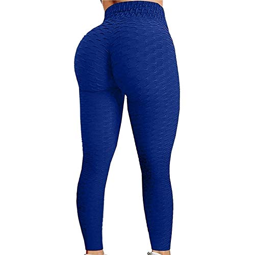 Leggings de Cintura Alta para Mujeres Control de Barriga Pantalones de Yoga para Adelgazar Botín Entrenamiento Deportes Correr Medias de Levantamiento de Glúteos (Color : Dark Blue, Size : L)