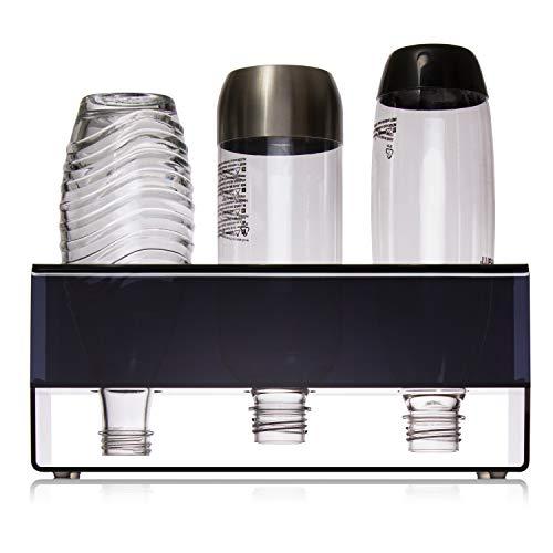 SODABOX® Premium Flaschenhalter für SodaStream Flaschen - mit Abtropffläche - hochwertiges Plexiglas - Abtropfhalter für Crystal, Power & Easy Flaschen und mehr - Stabiler Halt - Schnelle Reinigung