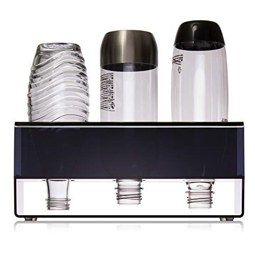 SODABOX SodaStream Flaschenhalter mit Abtropffläche - Stabiler Halt - Universal Abtropfhalter für Crystal, Power & Easy Flaschen - Schnelle Reinigung (Schwarz/Halbtransparent, 3 Loch)