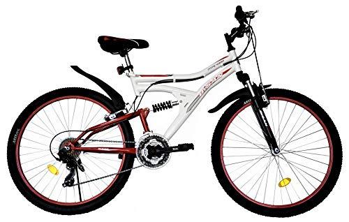 "T&Y Trade 24\"" 24 Zoll MTB Kinderfahrrad Mountainbike Kinder Mädchen Jugend Jungen Fahrrad Rad Bike Vollgefedert Fully 21 Gang Beleuchtung STVO 4300 Weiss ROT"