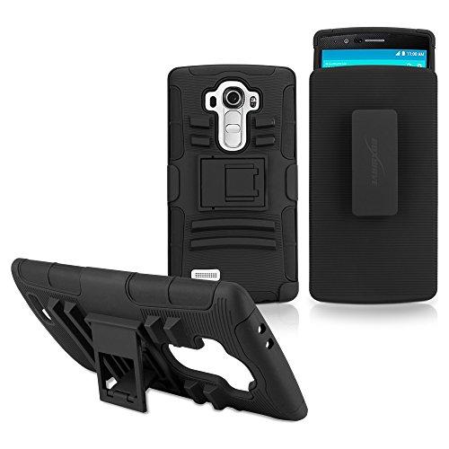 LG G4Funda, BoxWave® [Dual + MAX Funda] Carcasa Enganche para cinturón y con Soporte para LG G4–Pitch Black