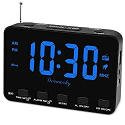 DreamSky Alarm Clock Radio for Bedroom - Small Digital Clock with USB Port, Outlet Powered with Battery Backup, 0-100% Dimmable Display, Transistor FM Radio with Earphone Jack, Snooze, 12/24H