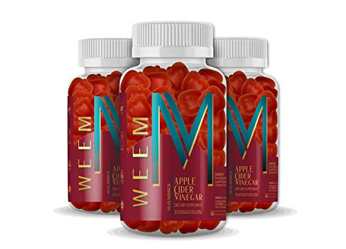 WEEM Apple Cider Vinegar Gummies - Natural, Vegan ACV with Folic Acid- Gluten Free - Vitamin B12 - Premium Detox & Weight Supplement- Helps Digestion for Women and Men (3)