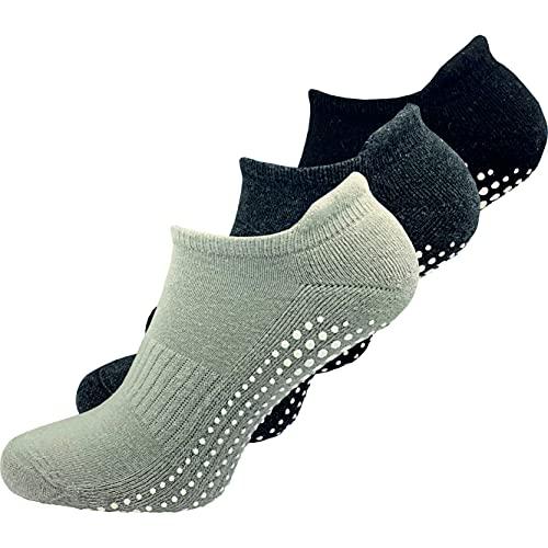 GAWILO 3 Paar Damen Yoga & Pilates Socken - Stopper Socken - sicherer Halt auf glatten Böden, ohne...