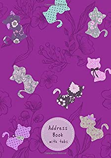 Address Book with Tabs: A5 Medium Contact Notebook Organizer with Alphabetical Index | Cute Cats Floral Design Purple