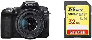 Canon キヤノン デジタル一眼レフカメラ EOS 90D(W)・EF-S18-135 IS USM レンズキット EOS90D18135ISUSMLK-A ブラック + Sandisk SDカードセット