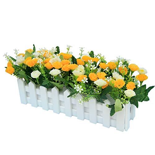 Flikool Garofani Fiore Artificiale con Recinto Faux Carnations Piante Artificiali in Vaso Simulazione Potted Bonsai Ornamenti Decorazioni Festa Casa Balcone Ufficio Nozze 30 * 7.5 * 15 cm - Giallo