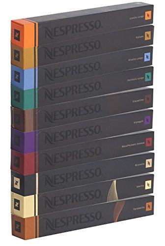 Nespresso Kapseln 100 Stück Kaffeekapseln - 10x Linizio Lungo 10x Volluto 10x Vivalto Lungo 10x Fortissio 10x Ciocattino 10x Arpeggio 10x Decaffeinato Intenso 10x Ristretto 10x Vanilio 10x Caramelito