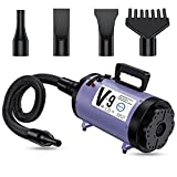 PetLife Professional 4.0HP Dog Dryer, Variable Speed Adjustable Dog Hair Blower, Dog Grooming Dryer with Heater Low Noise Pet Force Hair Dryer Household Salon