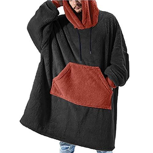 Sudadera con capucha para hombre, de gran tamaño, suave, cálida, cómoda, con capucha, para mujeres, niñas, adultos, hombres, niños, familia, color negro, XL