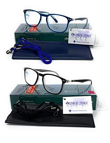 VENICE EYEWEAR OCCHIALI | Pack 2ª unidad al 50% Gafas de lectura con filtro luz azul para gaming, ordenador, móvil. Anti fatiga profesional unisex venice (Pack 2 Azul + Negro, 1.50)