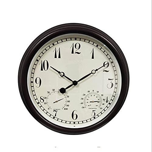QDCZDQ Relojes para Exteriores para Patio Reloj de Pared Grande, Resistente al Agua, Resistente al Agua con termómetro, silencioso, Funciona con Pilas, para Valla, baño