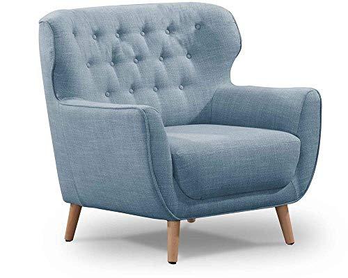 CAVADORE Sessel Abby / Klassischer Polstersessel mit Knopfheftung / 87 x 89 x 88 / Strukturstoff, blaugrau