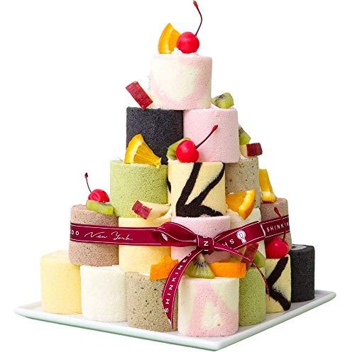 新杵堂 ロールケーキタワー 9種のミニロール 9個セット | 誕生日ケーキ バースデーケーキ デコレーションケーキ