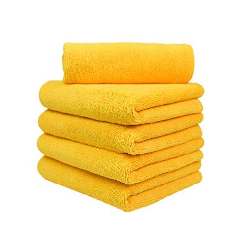 CARCAREZ Premium Microfiber Detailing Towels, 380 GSM Lint Free Car Buffing Waxing Polishing Drying Towel, 16x16 inch, Pack of 5 (Yellow)