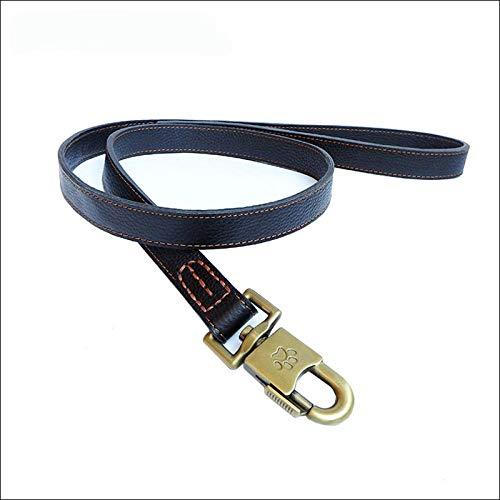 Arneses de Seguridad Correa para Perros Mediana y Grande Accesorios para Perros de Cuero Genuino Golden Husky Correa Perros-Negro_L
