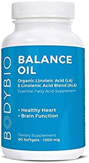 BodyBio Balance Oil | Essential Fatty Acids Omega 3 & 6 | Cold Pressed | Vegan | Organic Safflower and Flax Seed Oil Blend...