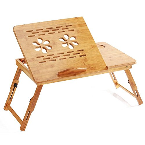 PrimeTrendz Bamboo Flower Lap Tray with Adjustable Legs   Foldable Breakfast Serving Bed Tray   Lap Desk with Tilting Top and Side Drawer   Laptop Stand   Natural