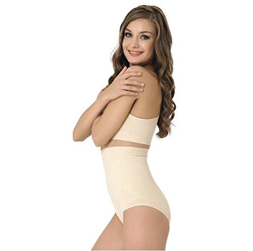 Formeasy Damen Figurformender Miederslip ohne Bein, bauchhoch - Bauchweg Unterhose Bauch Weg Slip Shapewear (L, Beige)