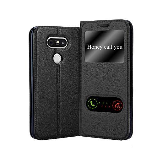 Cadorabo Hülle für LG G5 - Hülle in KOMETEN SCHWARZ – Handyhülle im Standfunktion und 2 Fenstern (View Design) - Case Cover Schutzhülle Etui Tasche Book Klapp Style